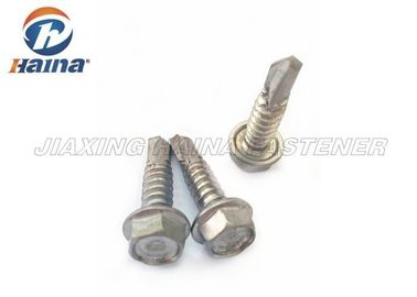 चीन Stainless Steel Tek Screws With Tapping Thread , Hex Washer Head SS Fasteners फैक्टरी