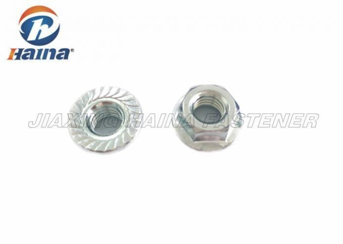 Hex Flange Nuts Carbon Steel , Zinc Plated Serrated Flange Lock Nut For Machinery